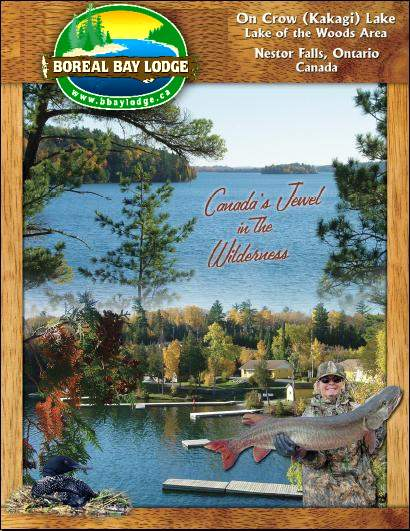 Fishing Crow Lake and Lake of the Woods fishing resort, hunting camp and lodge near Nestor Falls, Ontario, Canada at Boreal Bay Lodge
